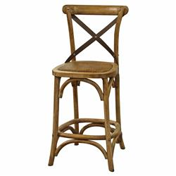 Valois French Country Metal Cross Oak Counter Stool | Kathy Kuo Home