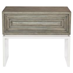Van Modern Classic Grey White Wood One Drawer Nightstand | Kathy Kuo Home
