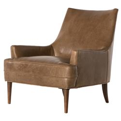 Vanda Retro Modern Camel Brown Leather Armchair | Kathy Kuo Home