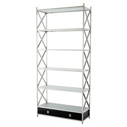 Vanderbilt Modern Classic Stainless Steel Frosted Glass Display Bookcase | Kathy Kuo Home