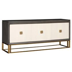 Vanguard Wallace Modern Classic Ash Solids Stain Brass 3 Door Sideboard | Kathy Kuo Home