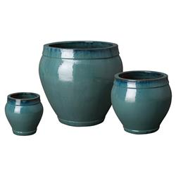 Vanti Global Teal Glaze Ridge Ceramic Planters - Set of 3 | Kathy Kuo Home