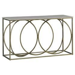 Vaughn Modern Gold Iron White Marble Console Table | Kathy Kuo Home