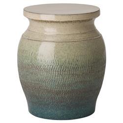 Velma Bazaar Round Green Glaze Ivory Garden Stool   18H | Kathy Kuo Home