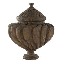Venezia Antique Oak Finished French Country Outdoor Urn | Kathy Kuo Home