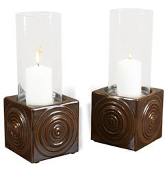 Vero Coastal Beach Brown Ceramic Hurricane Candle Holder - Set of 2 | Kathy Kuo Home