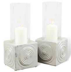 Vero Coastal Beach Grey Ceramic Hurricane Candle Holder - Set of 2 | Kathy Kuo Home