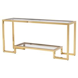 Interlude Vienna Hollywood Angular Polished Brass Glass Console Table | Kathy Kuo Home