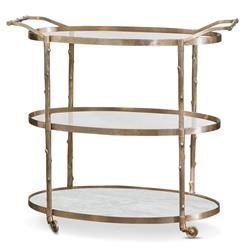 Vineyard Hollywood Regency 3 Shelf Brass Bar Cart | Kathy Kuo Home