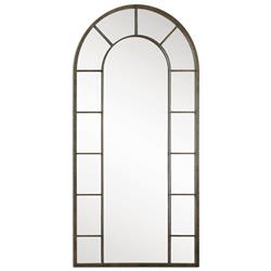 Vinton Industrial Loft Aged Black Iron Arch Wall Mirror | Kathy Kuo Home