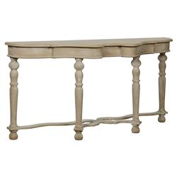 Vitel French Country Weathered Wood Console Table | Kathy Kuo Home