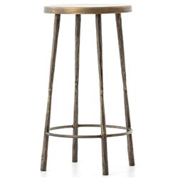 Vito Industrial Loft Hand Wrought Antique Brass Iron Counter Stool | Kathy Kuo Home