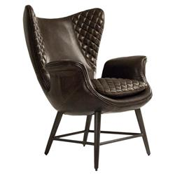 Volker Industrial Walnut Brown Leather Highback Living Room Chair | Kathy Kuo Home