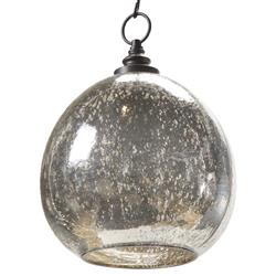 Voysey Industrial Loft Antique Mercury Glass Float Pendant | Kathy Kuo Home