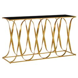 Walsh Hollywood Regency Gold Iron Ribbon Black Glass Top Console Table | Kathy Kuo Home