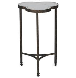 Walter Industrial Loft Silver Leaf Mirror Iron Side Table | Kathy Kuo Home