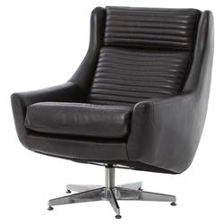 Warley Loft Masculine Black Leather Swivel Chair | Kathy Kuo Home