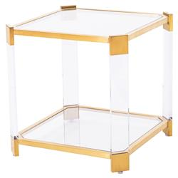 Warren Angled Acrylic Gold End Table | Kathy Kuo Home