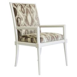 Warren Brown Velvet Patterned White Armchair | Kathy Kuo Home