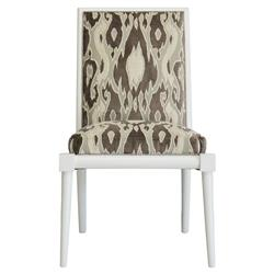 Warren Brown Velvet Patterned White Side Chair | Kathy Kuo Home