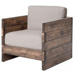 Watson Modern Rustic Lodge Chunky Wood Oak Square Arm Chair | Kathy Kuo Home
