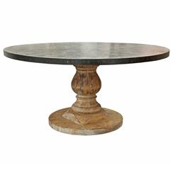 Watts Industrial Loft Zinc Top Wood Base Round Dining Table | Kathy Kuo Home