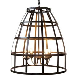 Wayne Industrial Loft Metal Birdcage Pendant Light | Kathy Kuo Home