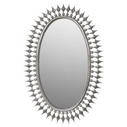 Wellington Oval Hollywood Regency Sunburst Radiant Mirror - Silver | Kathy Kuo Home