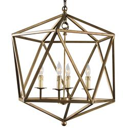 Wendt Industrial Rustic Gold Geometric Pendant | Kathy Kuo Home