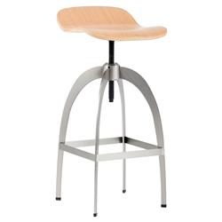 Werner Industrial Loft Brushed Steel Sculpted Wood Adjustable Bar Stool | Kathy Kuo Home