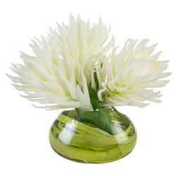 White Ginger Wrapped Rush Grass Glass Faux Floral | Kathy Kuo Home