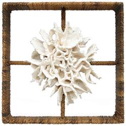 White Sandy Coastal Beach Hand Woven Abaca Coral Shadowbox | Kathy Kuo Home