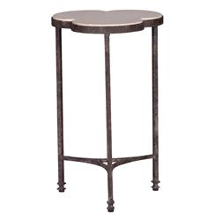 Whitman Modern Classic Rustic Limestone Clover Iron Accent Side Table | Kathy Kuo Home