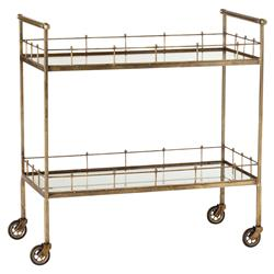 Whitty Hollywood Regency Vintage Brass Antique Mirror Bar Cart | Kathy Kuo Home