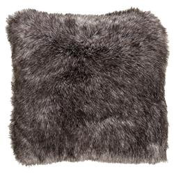 Wilke Rustic Lodge Steel Grey Faux Fur Pillow - 20x20 | Kathy Kuo Home