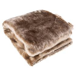 Wilke Rustic Regency Lux Brown Faux Fur Throw Blanket | Kathy Kuo Home