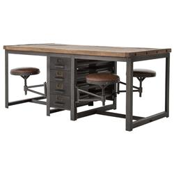 Wilkes Industrial Loft Reclaimed Pine Iron 4 Swivel Stools Desk Dining Table | Kathy Kuo Home