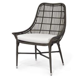 Willow Modern Classic Espresso Outdoor Chair - Salt | Kathy Kuo Home