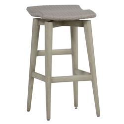 Wind Oyster Grey Wicker Outdoor Barstool | Kathy Kuo Home