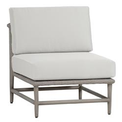 Wind White Grey Wicker Outdoor Slipper Sectional Chair | Kathy Kuo Home