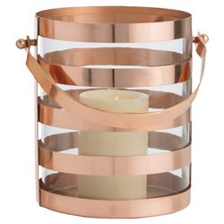 Windsor Coastal Striped Copper Glass Hurricane - Small | Kathy Kuo Home