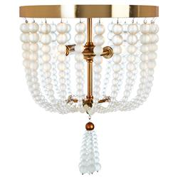 Winnie French Frosted Glass Beads with Gold Leaf Ceiling Mount Light - Small | Kathy Kuo Home