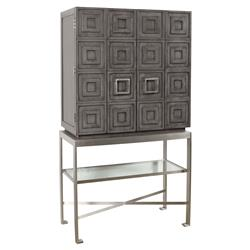 Winston Modern Classic Ash Solids Grey Brushed Stainless Steel 2 Door Bar Cabinet | Kathy Kuo Home
