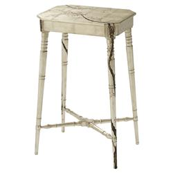Winter Blossom Global Bazaar Brass Palmette Accent Rectangular Side End Table | Kathy Kuo Home