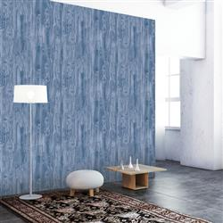 Woodgrain Textured Industrial Loft Indigo Removable Wallpaper | Kathy Kuo Home