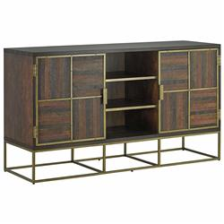Woodrow Modern Classic Leather Mosaic Wood Cabinet | Kathy Kuo Home