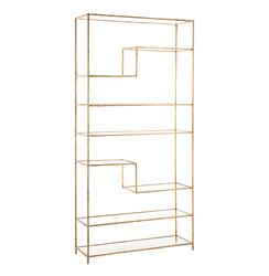 Worthington Hollywood Regency Gold Leaf Wrought Iron Bookcase | Kathy Kuo Home