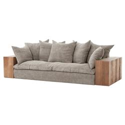 Wright Rustic Lodge Wood Block Stonewash Grey Taupe Jute Sofa | Kathy Kuo Home