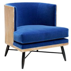 Wyatt Oly Royal Blue Velvet Lounge Chair | Kathy Kuo Home