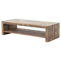 Wynn Modern Rustic Lodge Chunky Reclaimed Wood Rectangle Coffee Table | Kathy Kuo Home